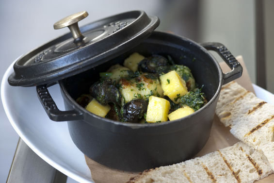 Escargot with Potato Gnocchi, Garlic, Parsley, and Pain Grillé