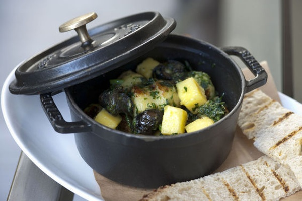 Escargot with Potato Gnocchi, Garlic, Parsley, and Pain Grillé