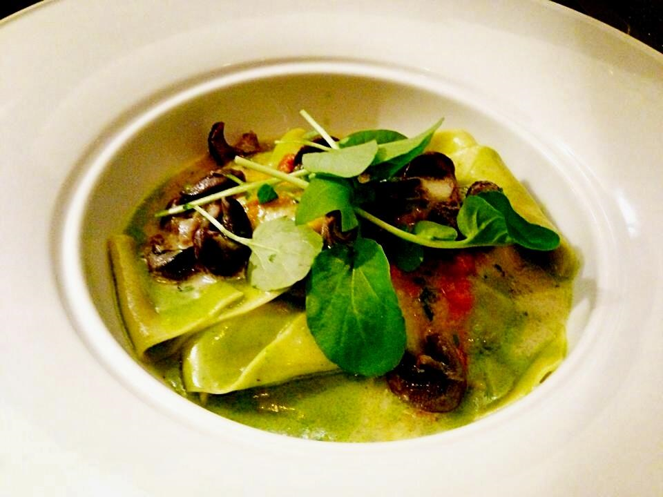 Pappardelle, Wild Burgundy Snails, Pesto, Garlic Emulsion, Sauce Vierge and Wild Watercress