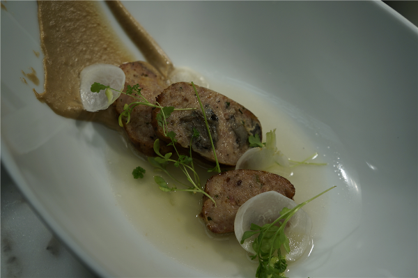 Publican Quality Meats' Snail Sausage, Walnut Puree, Shaved Turnips, and Ginger Broth National Escargot Day, 2013