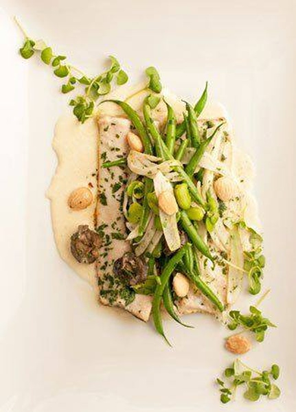 Brook Trout, Wild Burgundy Snails, Fennel, Spring Vegetables, & Marcona Almond Cream