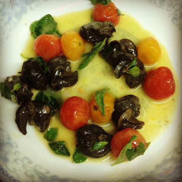 Wild Burgundy Snails, Cherry Tomato, Oregano, Roasted Garlic Butter