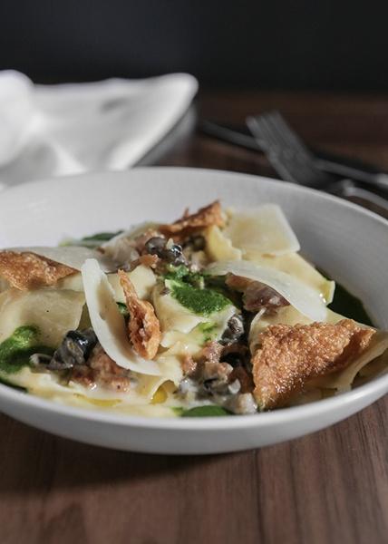 Hand Torn Pasta, Wild Burgundy Snails, Garlic, Crispy Chicken Skin, Pecorino, Italian Parsley