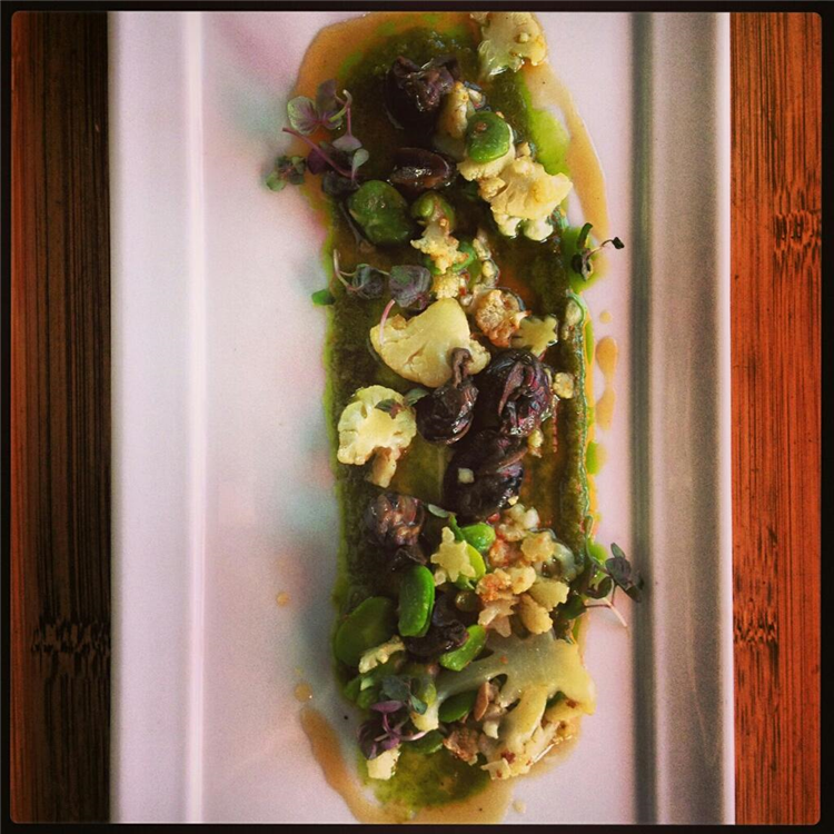 Braised Wild Burgundy Escargot, Cauliflower, Hot and Sour Gastrique, Thai Basil Puree