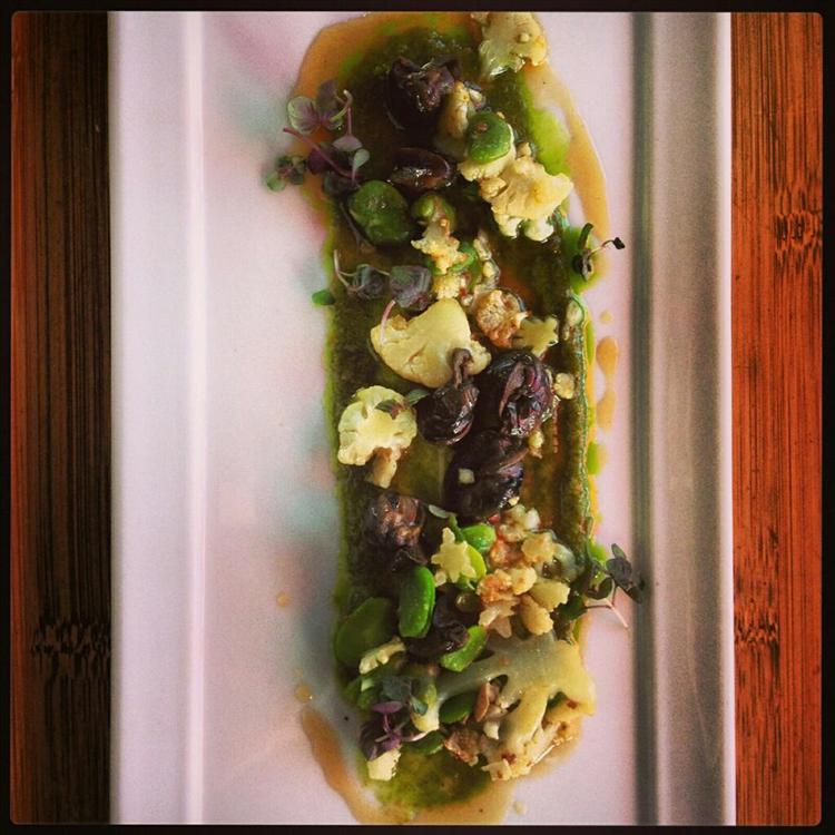 Braised Wild Burgundy Escargot, Cauliflower, Hot and Sour Gastrique, Thai Basil Puree