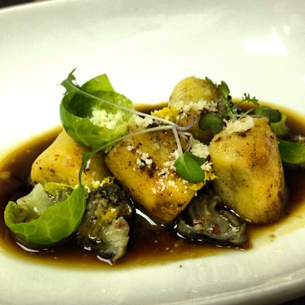 Ricotta, Meyer Lemon & Bone Marrow Gundi, Smoked Mushroom Broth, Snails, Maras Pepper & Parmigiano