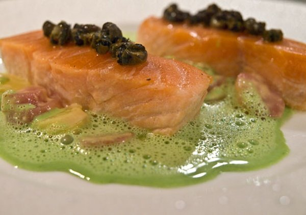 Barely Cooked Wild Salmon; Braised Burgundy Snails; Heirloom Potatoes, Sweet Garlic Parsley and Pernod Scented Sauce
