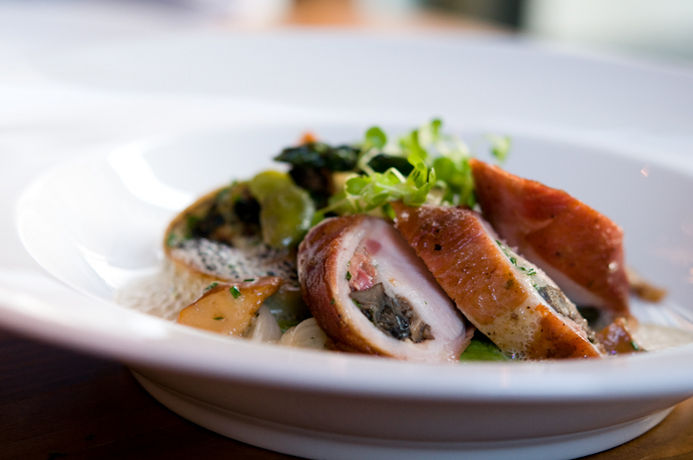 Roasted Rabbit Saddle & Wild Burgundy Snails, Fricasse of Morels, Spring Onions, & Favas