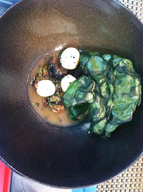 Snail, Chard, Boudin, Chicken Oyster, Kaffir, Sake and Truffle