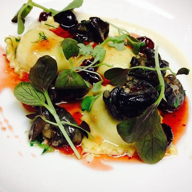Wild Burgundy Snails, Chicken Liver Ravioli, Salsify, and Cranberry Gastrique.