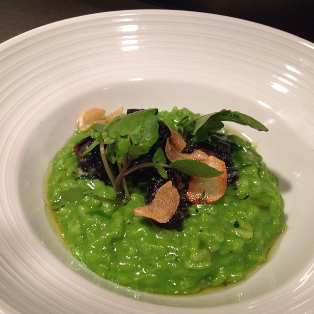 Wild Burgundy Snails, Roasted Garlic & Watercress Risotto, Garlic Chips.