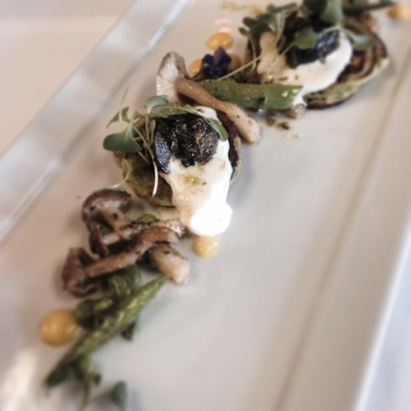 Escargot, Pea Blini, Mushrooms, Lemon.