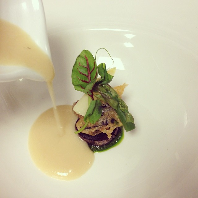 Smoked White Asparagus Soup, Wild Burgundy Snail, Purple Potato, Ramp Pistou.