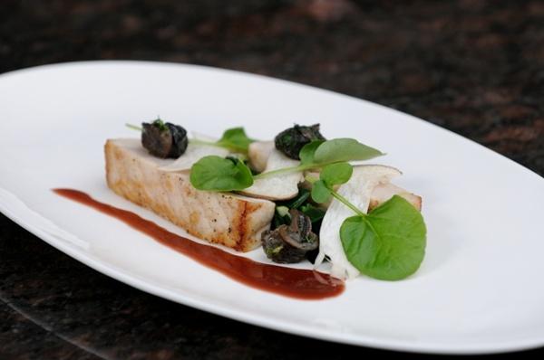 Butter Roasted Sturgeon, Wild Burgundy Snails, Leek Greens, Shaved Trumpet Mushrooms, Beurre Rouge.