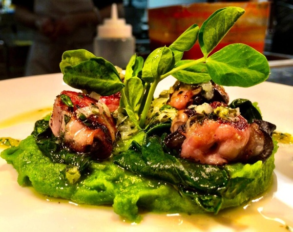 Pancetta-Wrapped Snails with Spinach Potato Purée and Sofrito.