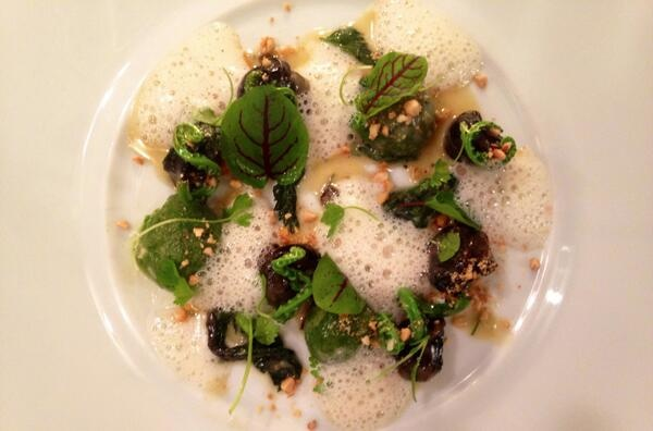 Buckwheat and Nettle Dumpling, Wild Burgundy Snails, Cheese Rinds, Smoked Cashew, Fiddlehead Ferns.