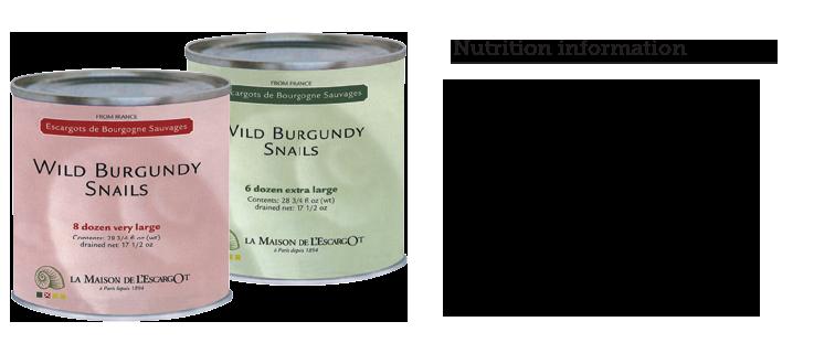 wild-burgundy-snails-escargot-NUTRITION INFORMATION